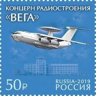 2019-2481 Russia 1v Vega Radio Engineering Corporation. Aviation. Aircraft A-50 Mi 2700 MNH - 1992-.... Fédération
