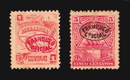 Nicaragua Error Variety Official Overprint Brocken Letters And Frames 2 Stamps Erreur No Gum (Delcampe>15) - Nicaragua