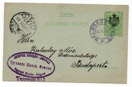 1904 SERBIA, SERBIA JUDAICA, BELGRADE TO BUDAPEST, SIGMUND KLOPFER COMPANY FLAM, STATIONERY CARD - Serbia