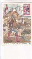 1962 CPA OBLITEREE AMBERT. JOURNEE NATIONALE DU TIMBRE. MESSAGER ROYAL FIN DU MOYEN AGE - BLEUP - Poste & Facteurs