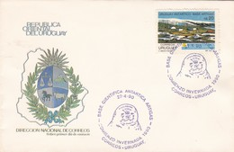 1990 COVER URUGUAY - BASE CIENTIFICA ANTARTICA ARTIGAS, COMIENZO INVERNADA - BLEUP - Bases Antarctiques
