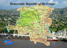 Congo Kinshasa Country Map New Postcard Kongo Landkarte AK - Sonstige
