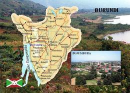 Burundi Country Map New Postcard Landkarte AK - Burundi