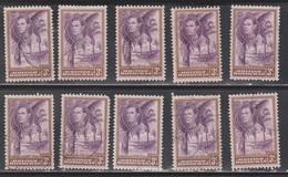 BRITISH HONDURAS Scott # 117 Used X 10 - KGVI & Cohune Palm Trees - British Honduras (...-1970)
