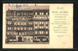 CPA Strasbourg, Hotel Du Rhin, 7, Place De La Gare - Strasbourg