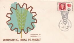 1969 COVER FDC URUGUAY - UNIVERSIDAD DEL TRABAJO DEL URUGUAYU - BLEUP - Uruguay