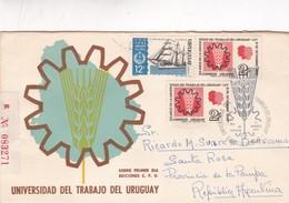 1969 COVER FDC URUGUAY - UNIVERSIDAD DEL TRABAJO DEL URUGUAY. CIRCULATED TO ARGENTINE, RECOMMANDE - BLEUP - Uruguay