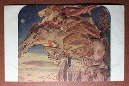 Antique Art Nouveau Tsarist Russia Red Cross Postcard 1909s By VRUBEL. Flight Faust And Mefistofel Horse. MEPHISTO - Ilustradores & Fotógrafos