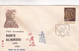 1966 COVER FDC URUGUAY - 700 ANIVERSARIO DANTE ALIGHIERI - BLEUP - Ecrivains