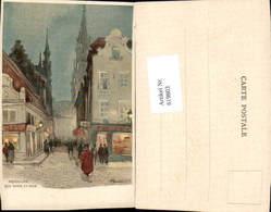 619803,Lithographie Henri Cassiers Brüssel Bruxelles Rue Chair Et Pain - Belgien
