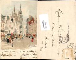 619799,Lithographie Henri Cassiers Brüssel Bruxelles Rue Au Beurre - Belgien