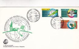 1992 COVER FDC BRESIL BRAZIL - CONFERENCIA DAS NAÇOES UNIDAS SOBRE MEIO AMBIENTE - BLEUP - Protection De L'environnement & Climat
