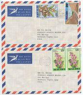 Malawi 1979-80 2 Airmail Covers Chichiri-Blantyre - Baptist Mission To Richmond VA - Malawi (1964-...)