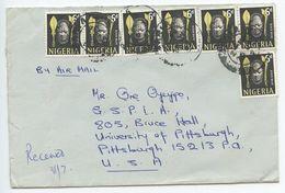 Nigeria 1967 Airmail Cover Aria To Pittsburgh PA, Scott 107 Mask X 7 - Nigeria (1961-...)