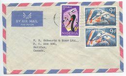 Nigeria 1969 Airmail Cover To Halifax Canada, Scott 190 & 191 Birds - Nigeria (1961-...)