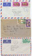 Nigeria 1969-70 3 Covers Benin City & Lagos To New York, Mix Of Stamps - Nigeria (1961-...)