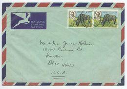 Swaziland 1975 Airmail Cover Manzini To Burton Ohio, Scott 170 Blue Wildebeest - Swaziland (1968-...)