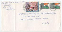 Ivory Coast 1986 Cover Abidjan To Falls Church VA, Scott 666 Elephant & C87 Olympics - Ivory Coast (1960-...)