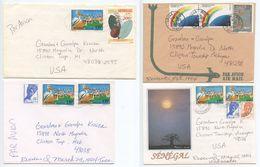 Senegal 1994 4 Airmail Covers Thies & Louga To U.S., Mix Of Stamps - Senegal (1960-...)