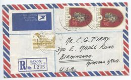 South Africa 1988 Registered Airmail Cover Saxonwold, Johannesburg To Birmingham MI - Covers & Documents