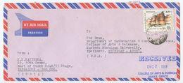India 1988 Airmail Cover Bangalore To Ypsilanti Michigan, Scott 1181 Fort Purana Qila - India