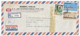 Singapore 1984 Registered Airmail Cover Geyland B To U.S., Scott 345 346 442 - Singapore (1959-...)