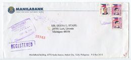 Philippines 1999 Registered Cover Manila To Livonia MI, Scott 2520 & 2607 - Philippines