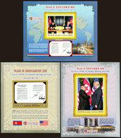 North Korea 2019 The First DPRK-US Summit Talks In Singapore Kim Jong-un And  President Trump  3 Imperf Souvenir Sheets - Corée Du Nord