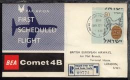 Grossbritannien BEA-Erstflug-Bf. Tel-Aviv-London - Briefmarken