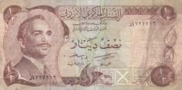 Jordanie - Billet De 1/2 Dinar - Non Daté - Roi Hussein - Jordanie
