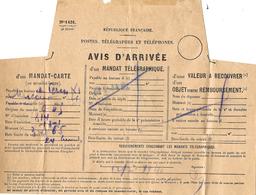 1940- Formulaire P T T N° 1431  Rose  -  Avis D'arrivée D'un MANDAT -CARTE Ou TELEGTAPHIQUE - 1921-1960: Periodo Moderno