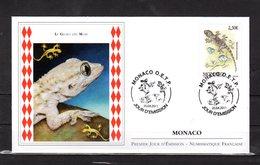 """Faciale = 2.30 €. """" LE GECKO DES MURS / LEZARD """" Sur Enveloppe 1er Jour De MONACO De 2011. N° YT 2781. FDC - Reptiles & Batraciens"""