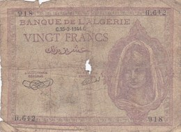 Algérie - Billet De 20 Francs - 25 Février 1944 - Mauvais état - Algeria