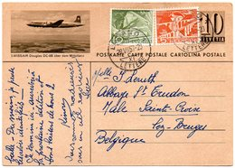 SUISSE - EP (SWISSAIR Douglas DC-6B) De Lugano Vers La Belgique - Stamped Stationery