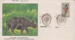 INDIA  2000  Rhinoceros FDC High Value Fly Catcher Bird Stamp FDC  #  69102   Indien Inde - Rhinoceros