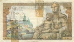 BILLET FRANCE 1000 FRANCS ANNEE 1943 DEESSE DEMETER - 1 000 F 1942-1943 ''Déesse Déméter''
