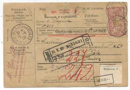 MERSON 1FR +45C BULLETIN EXPEDITION STE MARIE AUX MINES 18.5.1920 POUR BALE SUISSE - Poststempel (Briefe)