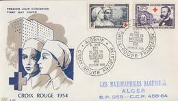Enveloppe  FDC  1er  Jour  ALGERIE   Paire   CROIX  ROUGE   1954 - FDC