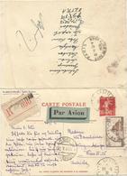 ENTIER 90C SEMEUSE CARTE AVEC REPONSE + N°260 REC AVION LYON 1931 POUR AUTRICHE + RETOUR MIXTE - Postal Stamped Stationery