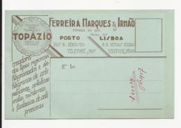 Commercial Card - Ferreira Marques & Irmão - Topázio - Porto - Portugal - Typographic Item - Holed - Tema ''Ourivesaria' - Portugal
