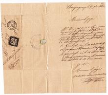 Lettre 1861 Champagneux Savoie Saint Genix Sur Guiers Timbre Taxe 10 Centimes à Percevoir Peysieux - Strafport