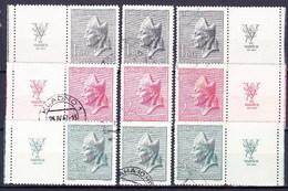 Tchécoslovaquie 1947 Mi 515-7+Zf (Yv 443-5+vignettes), Obliteré - Used Stamps