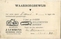 Grimbergen :  Rijwielen - Fietsen :  J. Lemmens  (  Zie Detail ) - Grimbergen