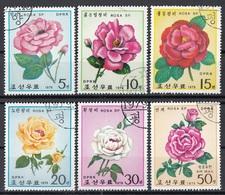 DPR Korea 1979 Sc. 1791/1796 Fiori Flowers Rosa Roses Rose Full Set CTO - Corea Del Nord