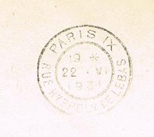 ERREUR ORTHOGRAPHE HYPPOLYTE AU LIEU D'HIPPOLYTE SUR COURONNE  DE FLIER PARIS IX EN ARRIVEE - Oblitérations Mécaniques (flammes)