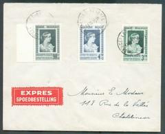 Lettre EXPRES Affr. FONDATION REINE ELISABETH Obl. Sc BRUXELLES 1 Du 18-10-1951 Vers Chatelineau - 14211 - Cartas