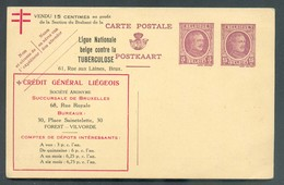 E.P. Carte Ill. HOUYOUX 5 + 15 Centimes Repiq. CREDIT GENERAL LIEGEOIS - Verso : MARGARINE MERVEILLE UNION MATCH ALLUME - Illustrat. Cards