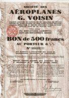 92-AEROPLANES G. VOISIN. ISSY Les MOULINEAUX. Bon 500 F 1928. DECO - Shareholdings