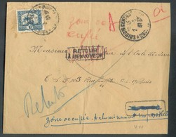 Lettre Affr. 10 C. De SAIGON Le 2-9-1941 Vers Paris (biffé) Zone Occupée, Acheminement Impossible + Retour à L'envoyeur - Indochina (1889-1945)