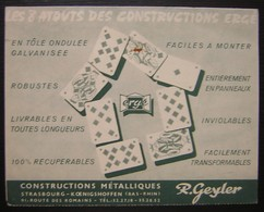 Strasbourg Koenigshoffen R. Geyler Constructions Imprimé Illustré Cartes à Jouer 1958 - Postmark Collection (Covers)